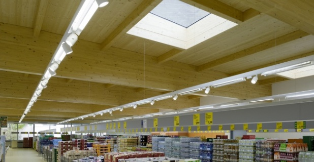 Skylights in the roof reduce power requirements for lighting....
