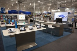 Within the larger shops, the Samsung Connected Solutions area creates a place...