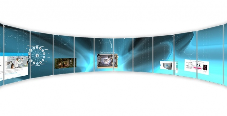 Photo: The world's first curved, multi-user interactive wall...