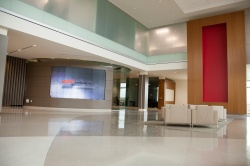 eyevis video wall welcomes visitors at Bell Helicopters...