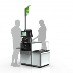 Thumbnail-Photo: Self-checkout system with flexible, convertible design...