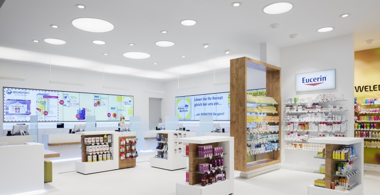 Rathaussapotheke mit digitalen Screens