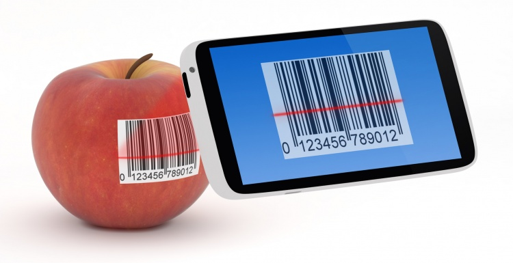 Smartphone scans barcode on apple; copyright: panthermedia / Roberto Rizzo...