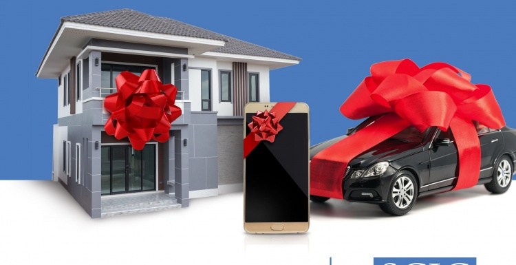 house, smartphone and car are presents