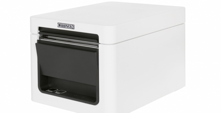 Photo: Printer with white housing for the Point of Sale; copyright: Citizen...