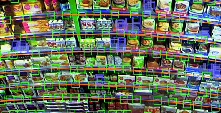 Photo: Shelf in the supermarket with virtual colored markings; copyright:...