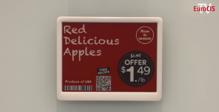 Photo: Red digital price tag for apples; copyright: Messe Düsseldorf...