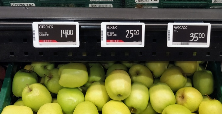 digital price labelling in supermarket; Copyright: Delfi Technologies...