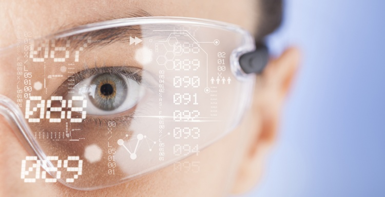 Man with transparent glasses sees virtual numbers; copyright: panthermedia.net...
