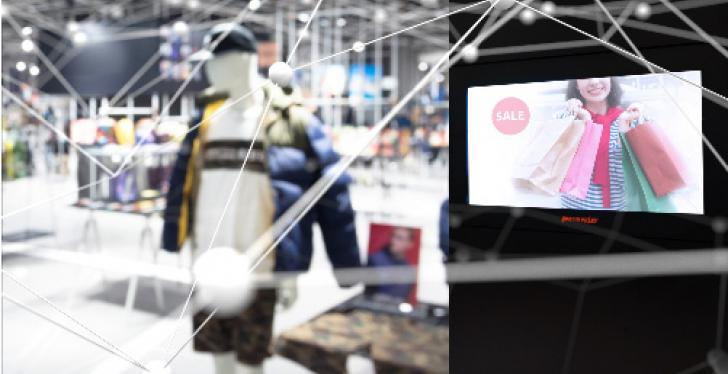 Virtual network in a clothing store with a screen; copyright: Permaplay...