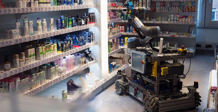 A robot between shelves at a drugstore