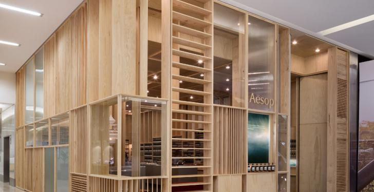 Aesop Bondi Junction Signature Store made of wood
