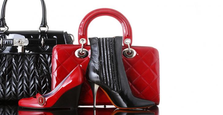 Shoes and bags in black and red