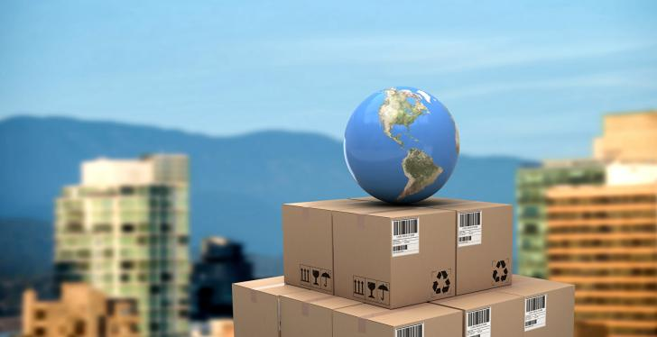 Globe on a stack of packages