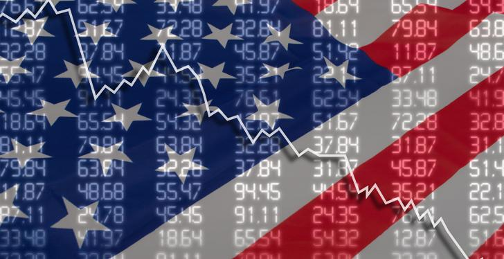 An American flag in the background and a falling graph...
