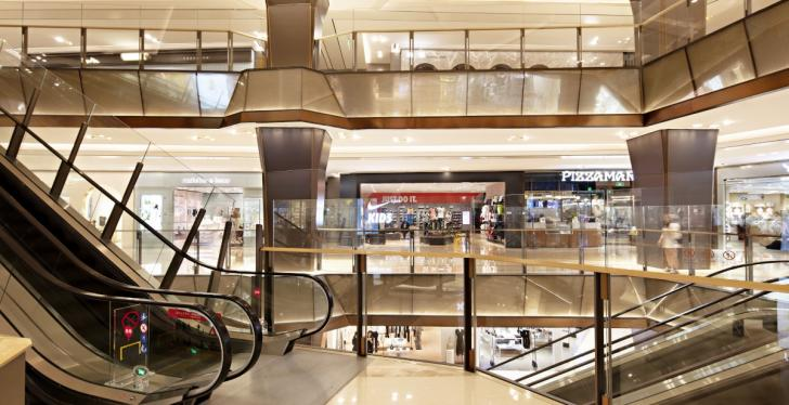 The interior of a shopping center with modern design...