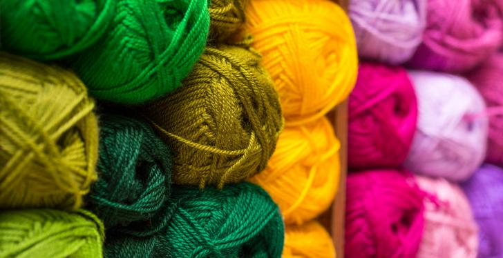 Ball of wool in different colours