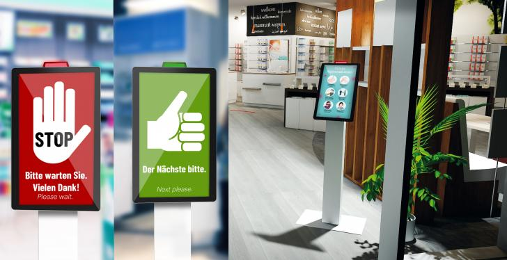 red and green displays for access control on digital signage...