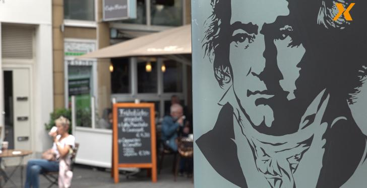 Sign with Beethoven motif in front of café in Bonn...