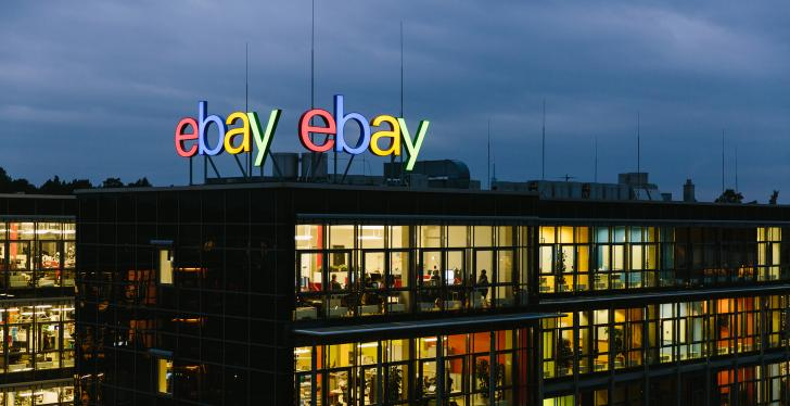 An outside view of the ebay company building in Berlin, Germany in the dark...