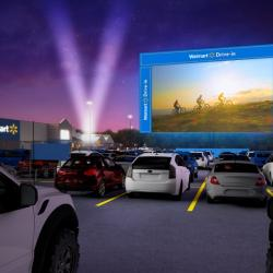 Thumbnail-Photo: Walmart brings the big screen to its parking lots...
