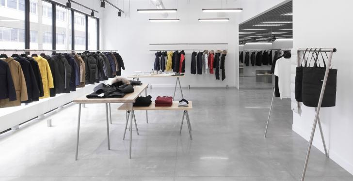 A modern, very simple and minimalistically furnished fashion showroom...