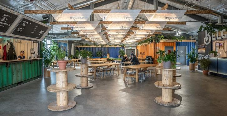 A beer hall in Toronto furnished with sustainable materials...