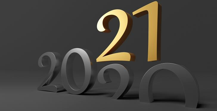 The gray number 2020 and on it is a golden 21; copyright: PantherMedia/Waldemar...