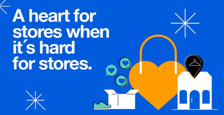 Graphic from Zalando with lettering: A heart for stores when it is hard for...