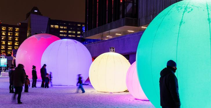 An installation with lighting in a public square in Montréal, Canada...