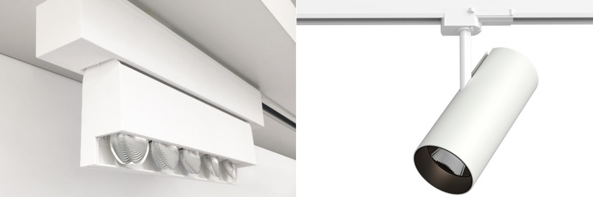 The new magiq plus wallwash (left) can be mounted on 3-phase rails and rotated...