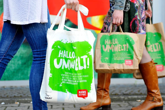 Rewe counts on cotton and paper bags, cardboard boxes or jute bags....