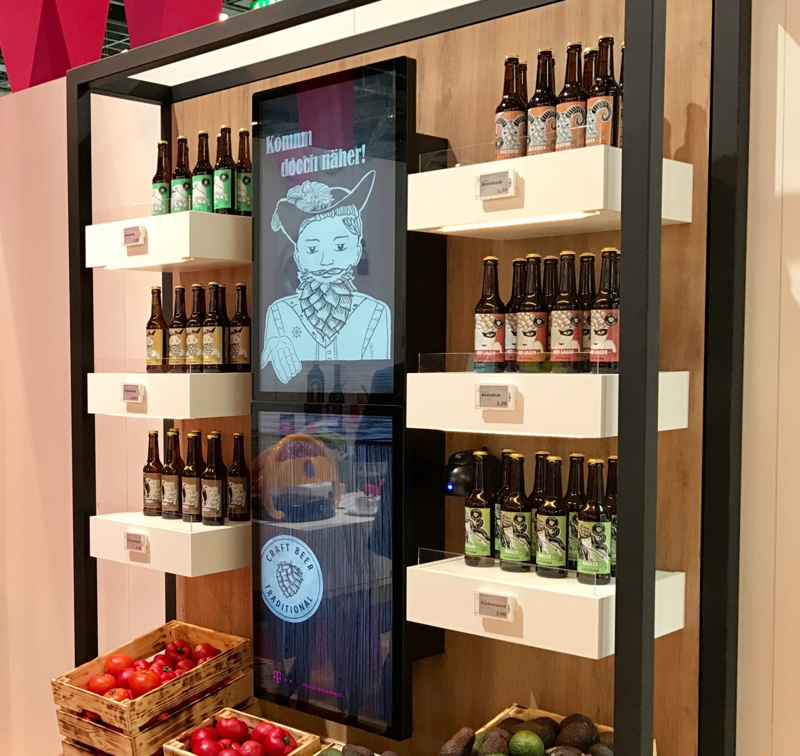 Photo: Internet of Things retail shelf, filled with bottles, with interactive...