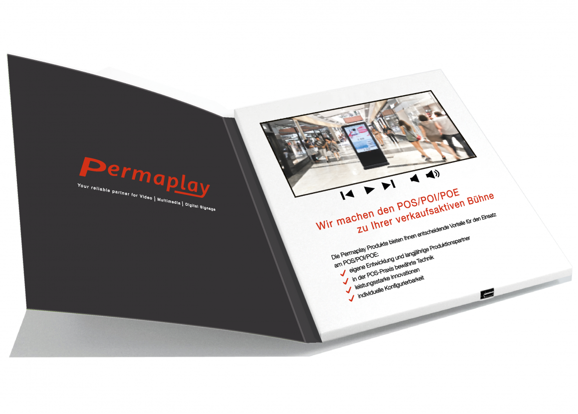 Photo: Video Brochure with integrated display; copyright: Permaplay Media...