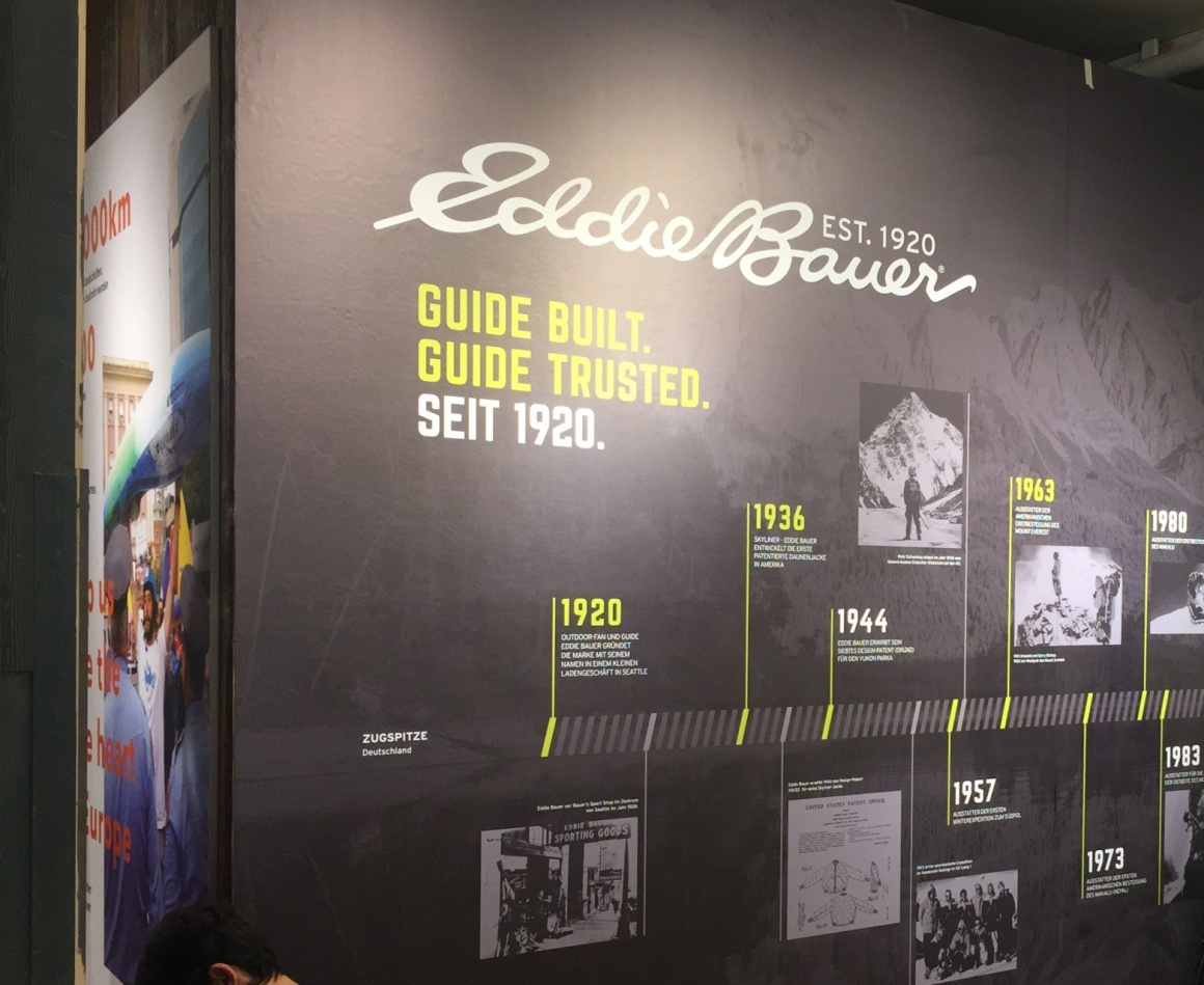 Marketing wall of Eddie Bauers history