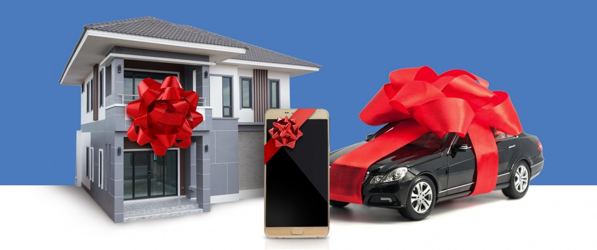 presents: a house, smartphone, car