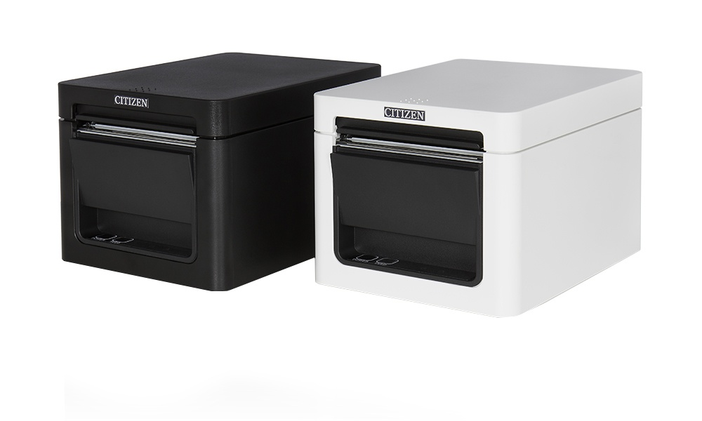 Photo: Two printers with white and black housings for the point of sale;...
