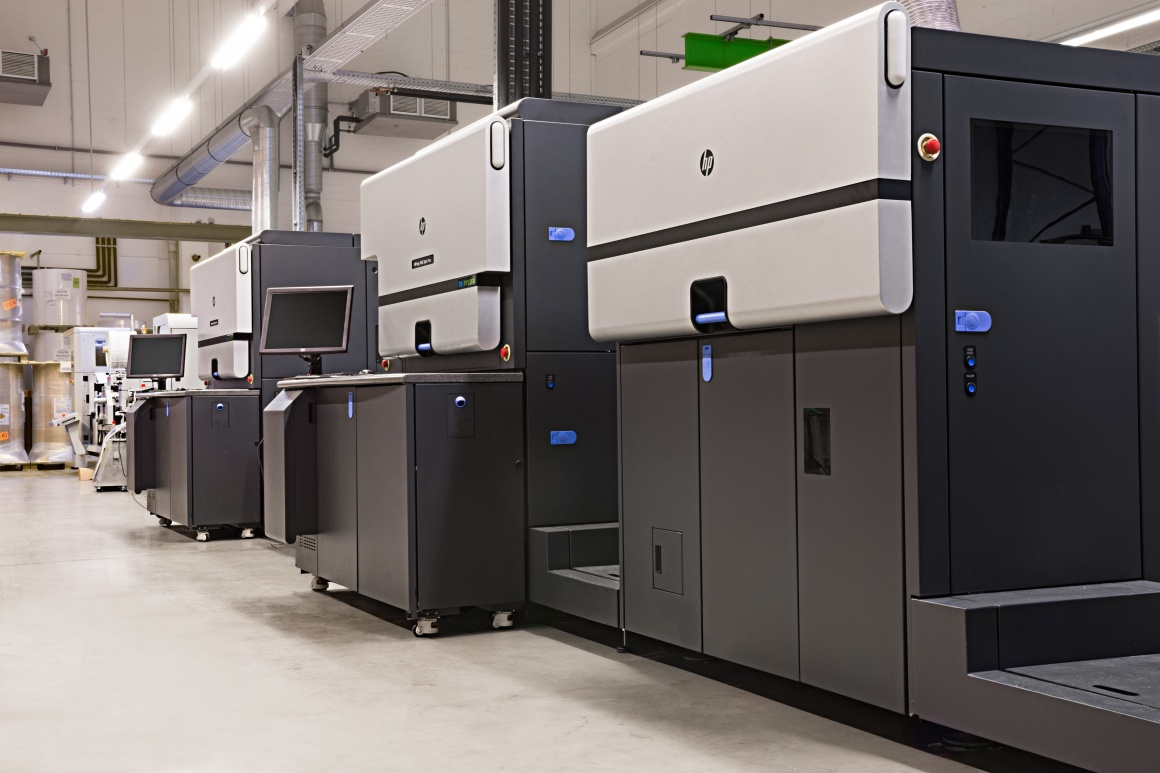 Photo: HP digital printing machine at the location in Bochum; copyright: Bizerba...