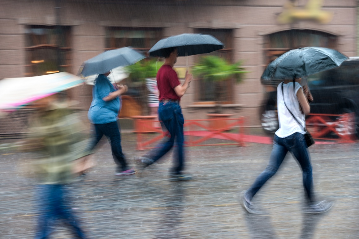 People walking in the rain.