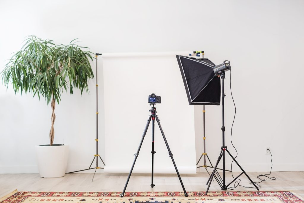 Camera tripod aimed at plants in front of a white wall....