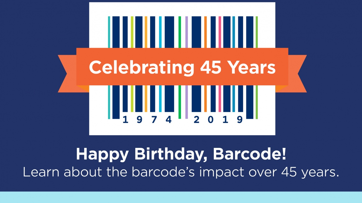 Graphic of a barcode with an anniversary-text; copyright: GS1 US...