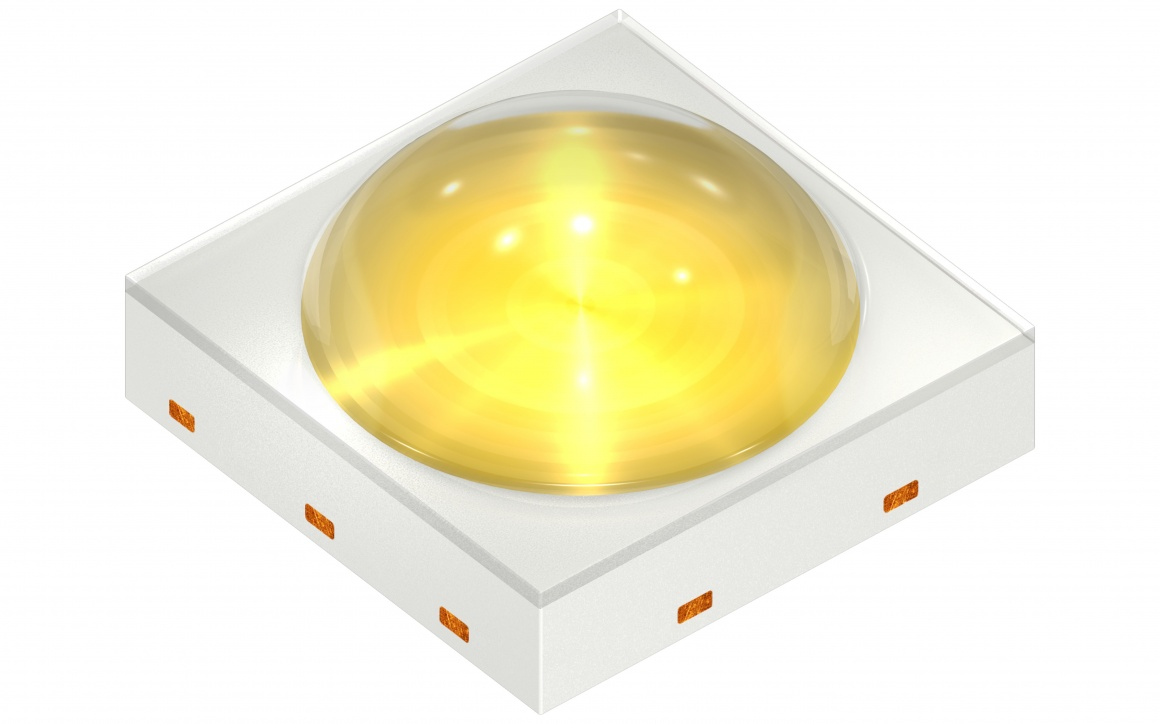 The new LED from Osram - yellow light, white square housing...