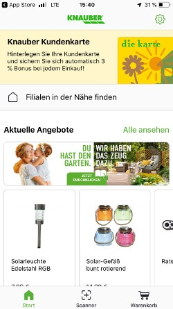 Screenshot of the homepage of an app of a DIY market; copyright: iXtenso/Pott...