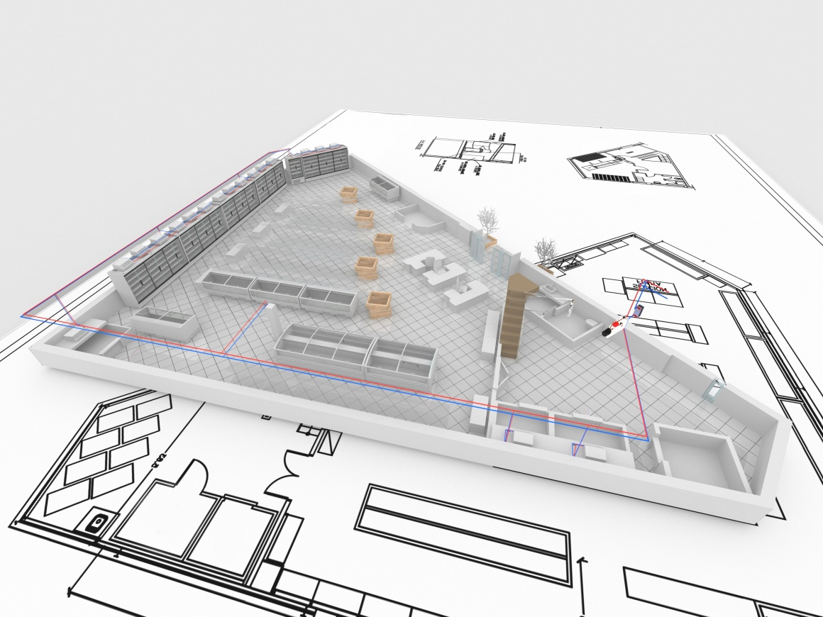 Construction plan with refrigeration systems