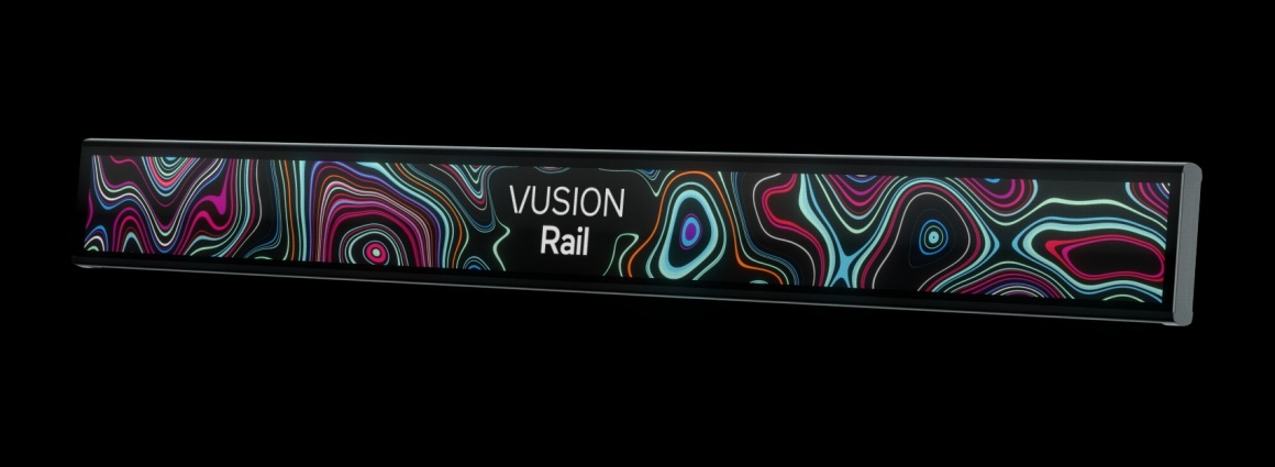 A slim digital display showing the text VUSION Rail...