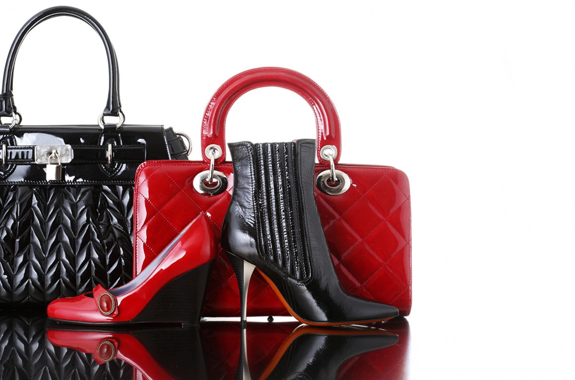 Shoes and bags in red and black