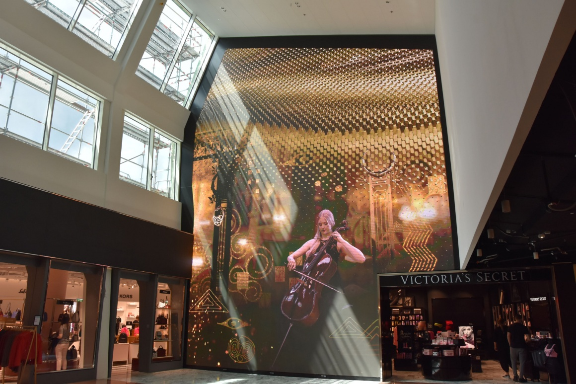 LED wall of The Fashion Gallery at Vienna Airport