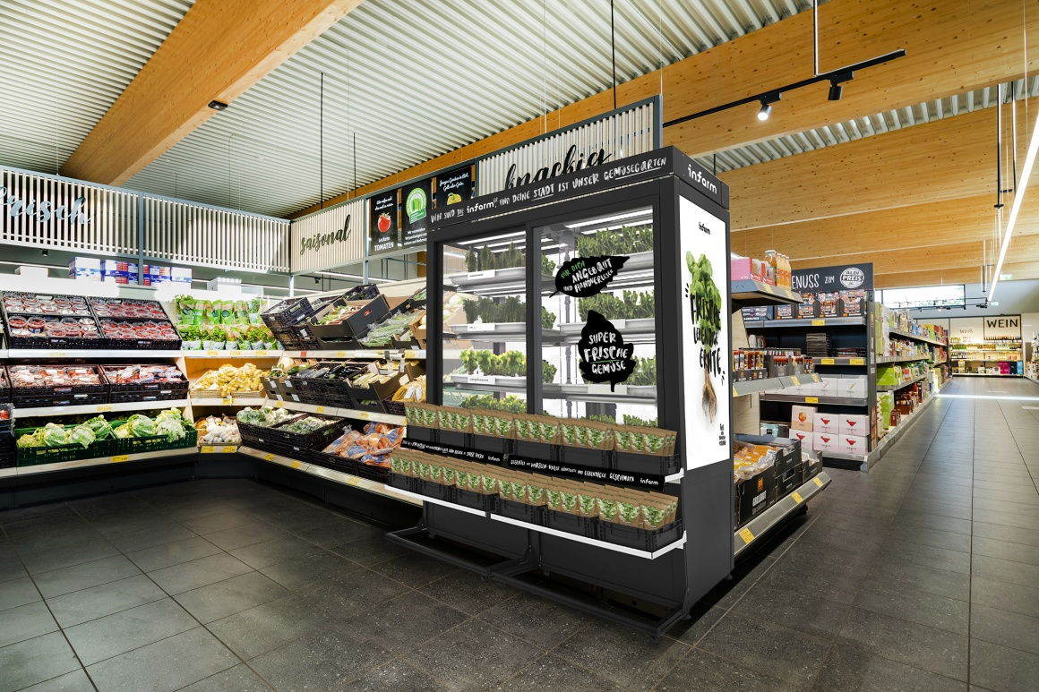 A graphic of a supermarket with a greenhouse module with fresh herbs...