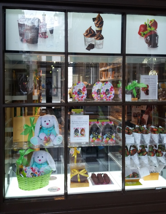 Well,…it's sweet. At least the chocolate is. Easter at Godiva....
