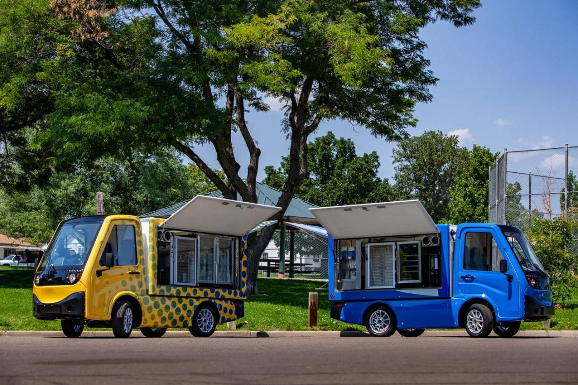 Two vehicles in yellow and blue